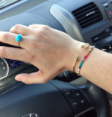 Stella & Dot Mary Margaret Ring, Gilded Arrow Bangle, and Spirit Bracelet